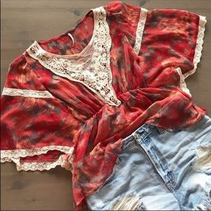 Free People Red Lace Sheer Blouse Top XS